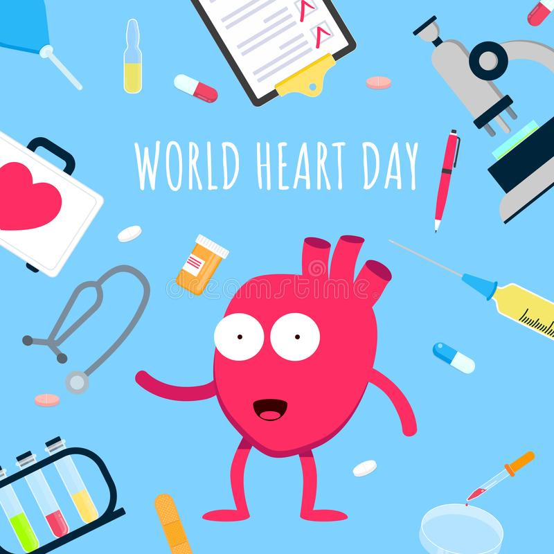 World heart day concept flat style design poster. Cartoon character Hearty the Heart on it arounded with hospital equipment and medicines. Medical awareness royalty free illustration