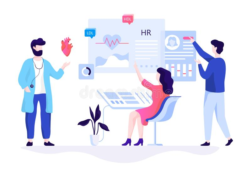 Cardiology concept. People check heart and cardiovascular. System. Internal organ, blood pressure. Vector illustration in flat style vector illustration
