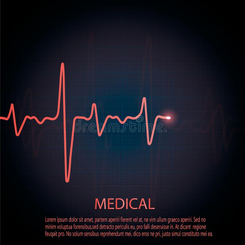 Cardiology concept with pulse rate diagram. Medical background with heart cardiogram. Cardiology concept with pulse rate diagram stock illustration