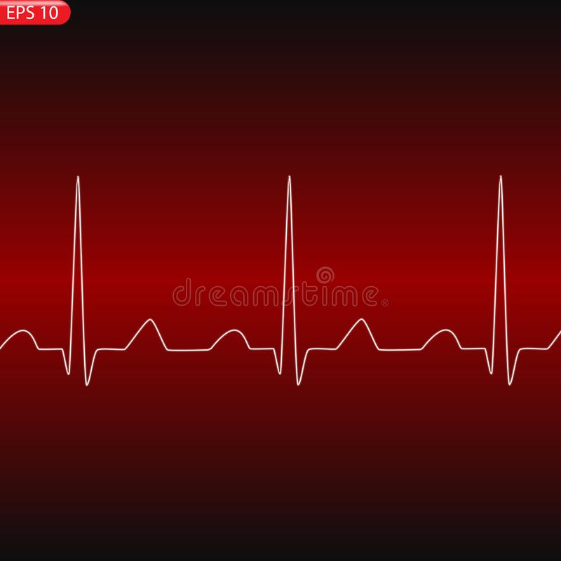 Cardiology concept with pulse rate diagram royalty free illustration