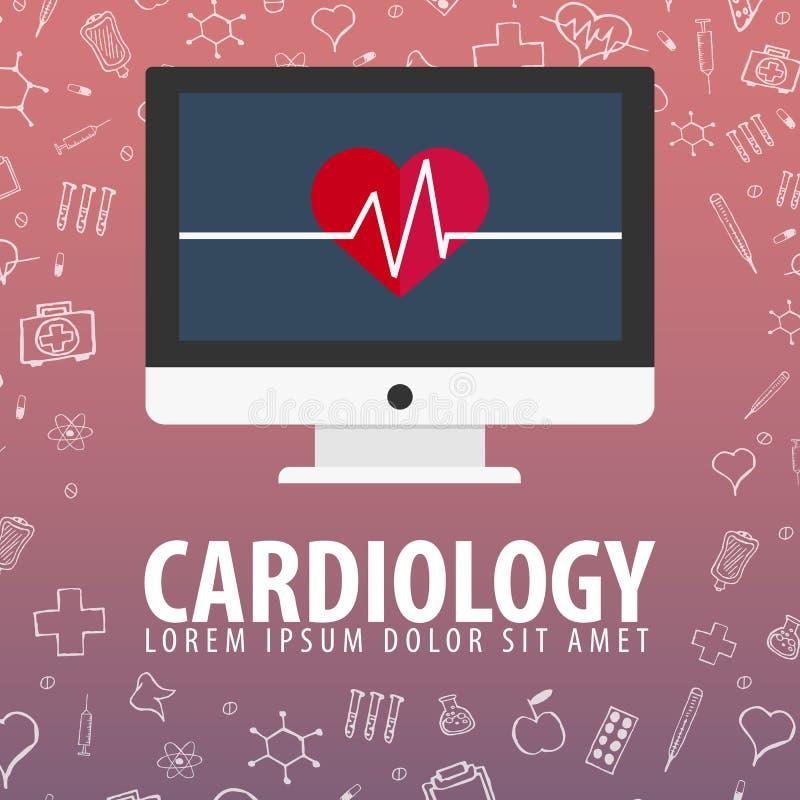 cardiology Fundo médico Cuidados médicos Ilustração da medicina do vetor ilustração stock