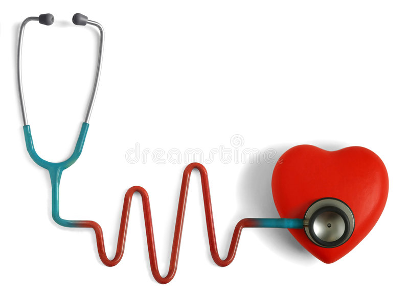 Cardiology (Heartcare). Heart and a stethoscope with heartbeat (pulse) symbol isolated in white background