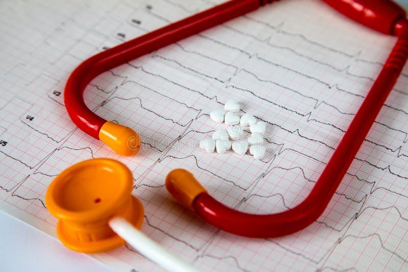 cardiology Makro av ECG-grafen och cardio pills Preventivpillerar som en höra arkivfoton
