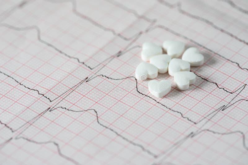 cardiology Makro av ECG-grafen och cardio pills Preventivpillerar som en höra royaltyfri bild