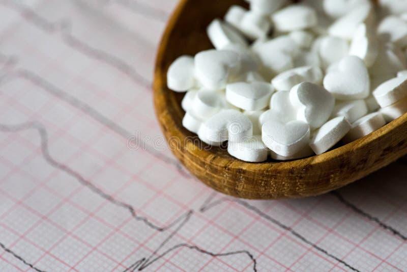 cardiology Makro av ECG-grafen och cardio pills Preventivpillerar som en höra royaltyfria foton