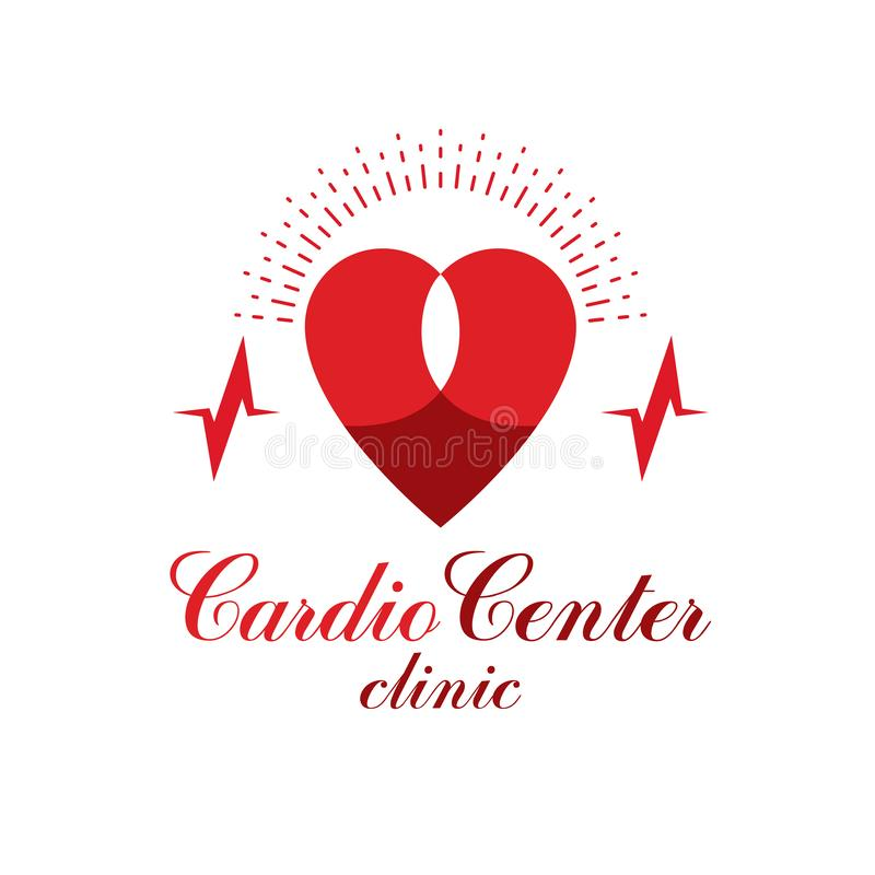 Cardiology vector conceptual logo created with red heart shape and an ecg chart. Cardiovascular illness treatment concept for use royalty free illustration