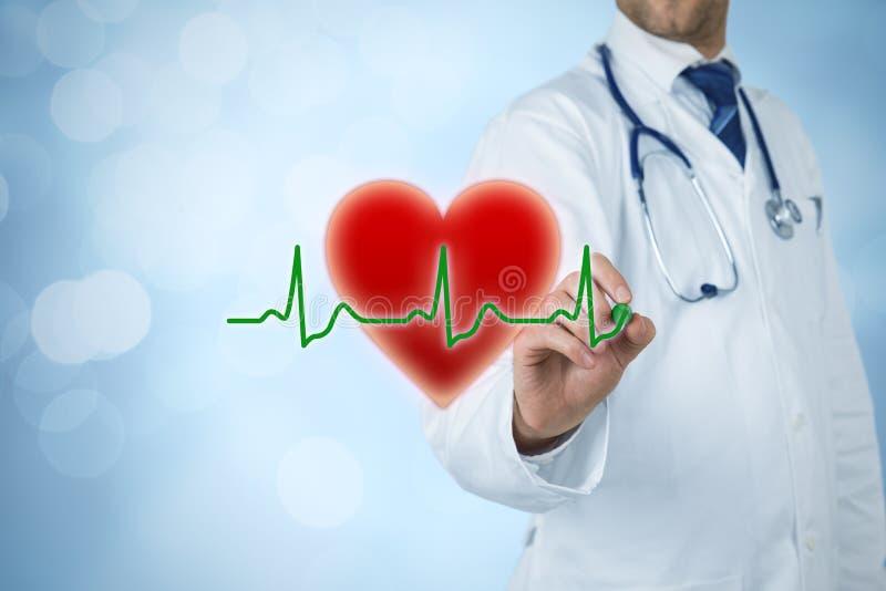Cardioloog en gezondheidszorgconcepten stock afbeelding