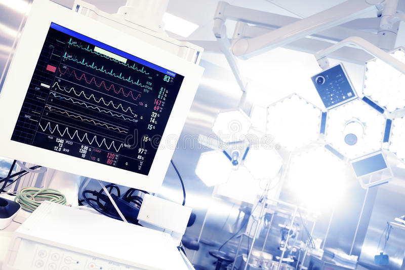 Cardiomonitor in surgery. stock image