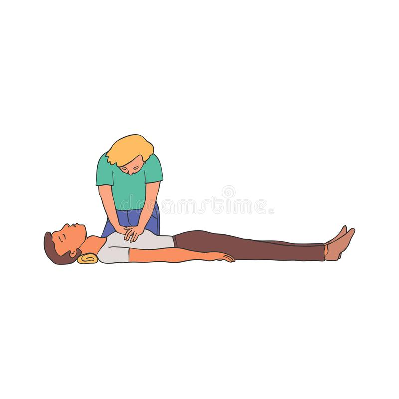 Cardiopulmonary resuscitation vector illustration - young woman doing chest compressions to man lying on floor. stock illustration