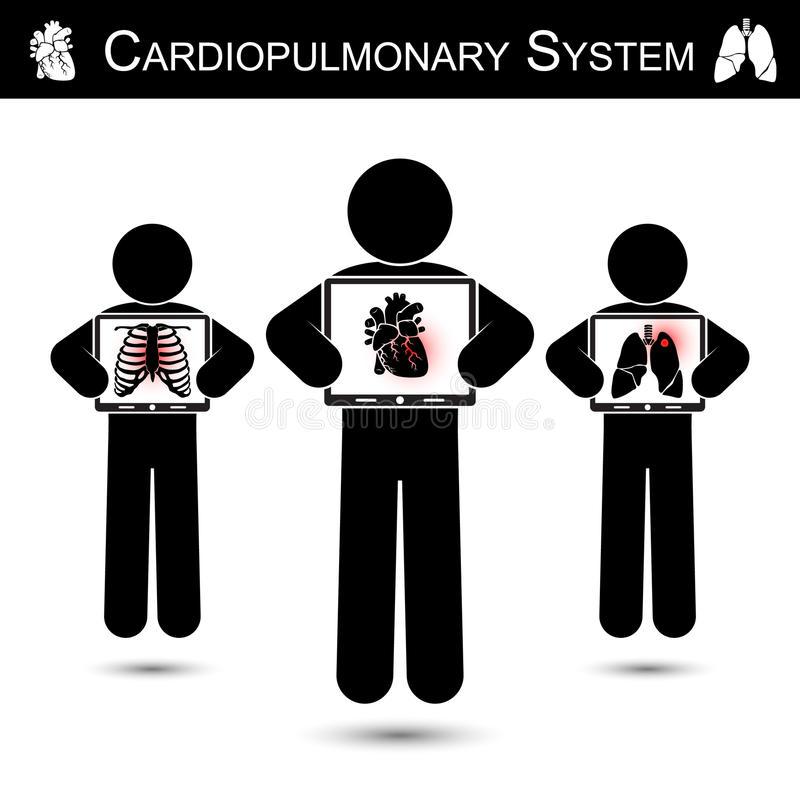 Cardiopulmonary System . Human hold monitor screen and show imaging of Skeleton ( chest injury ) , Heart ( Myocardial Infarction royalty free illustration