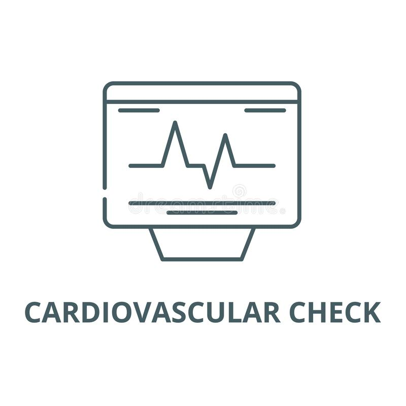 Cardiovascular check line icon, vector. Cardiovascular check outline sign, concept symbol, flat illustration. Cardiovascular check line icon, vector royalty free illustration