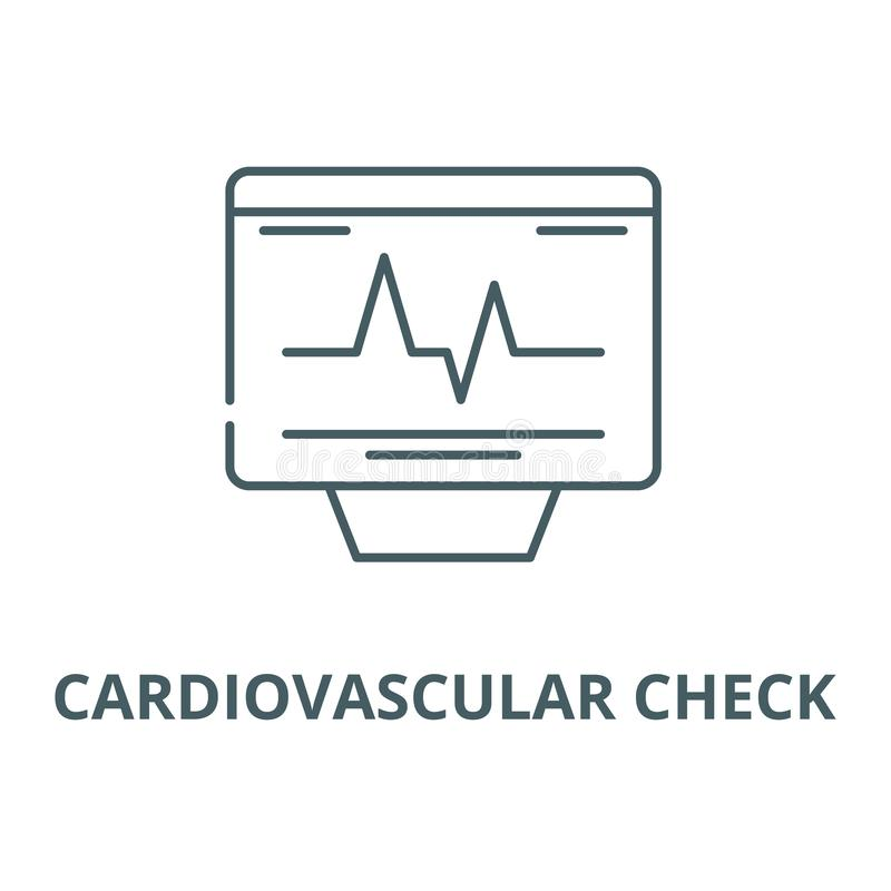 Cardiovascular check vector line icon, linear concept, outline sign, symbol. Cardiovascular check vector line icon, outline concept, linear sign royalty free illustration