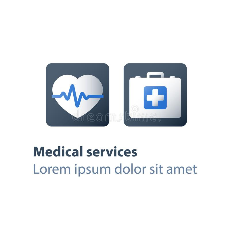 Cardiovascular disease check up, first aid kit, doctor`s bag with cross, health insurance program, medical services, heart stroke vector illustration
