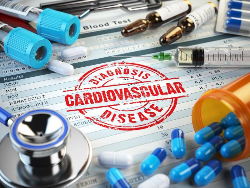 Cardiovascular disease diagnosis. Stamp, stethoscope, syringe, b royalty free illustration