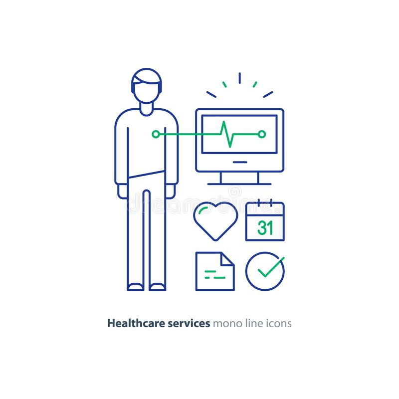 Heart test line icon, electrocardiogram monitor logo, cardiology examination. Cardiovascular disease prevention test, heart diagnostic, electrocardiography logo royalty free illustration