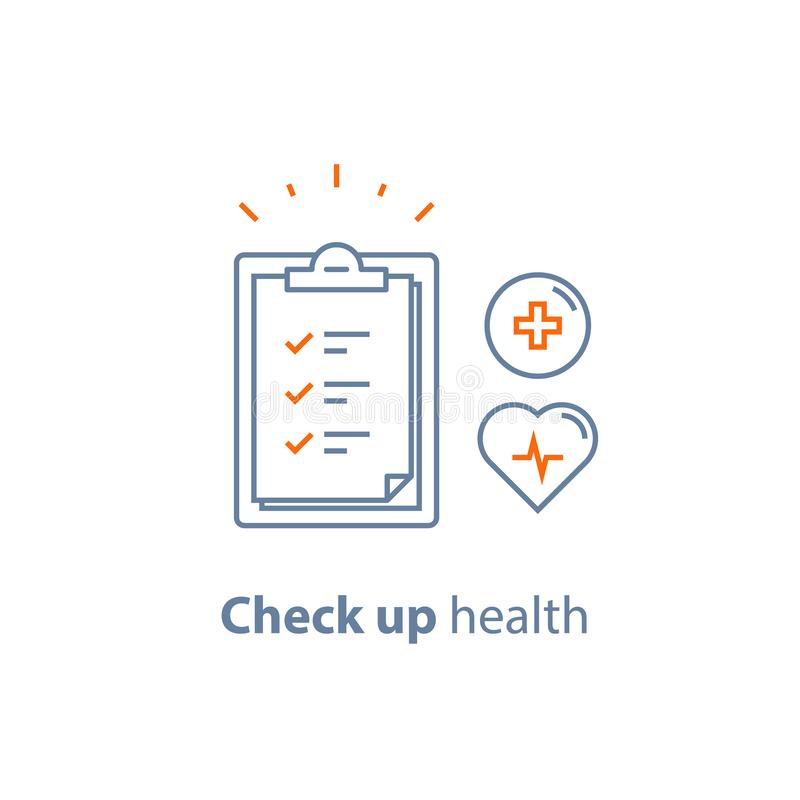 Cardiovascular disease test, health check up checklist, heart diagnostic, electrocardiography service, hypertension risk. Health check up checklist royalty free illustration