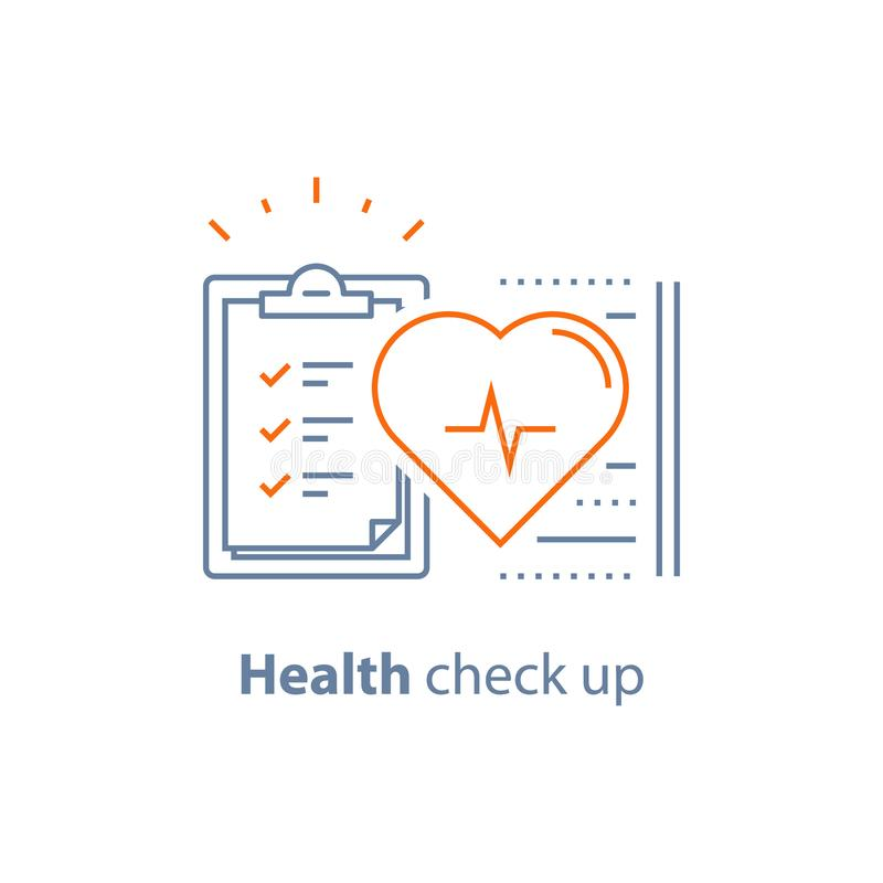 Cardiovascular disease test, health check up checklist, heart diagnostic, electrocardiography service, hypertension risk. Health check up checklist vector illustration