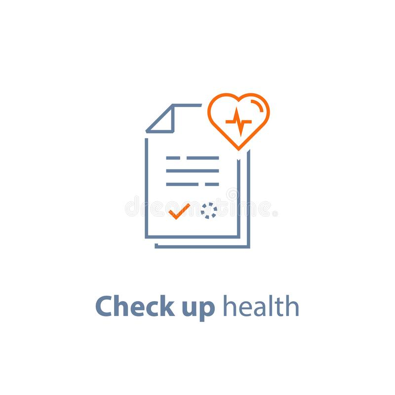 Cardiovascular disease test, health check up, heart diagnostic, electrocardiography service, hypertension risk. Health check up, cardiovascular disease royalty free illustration