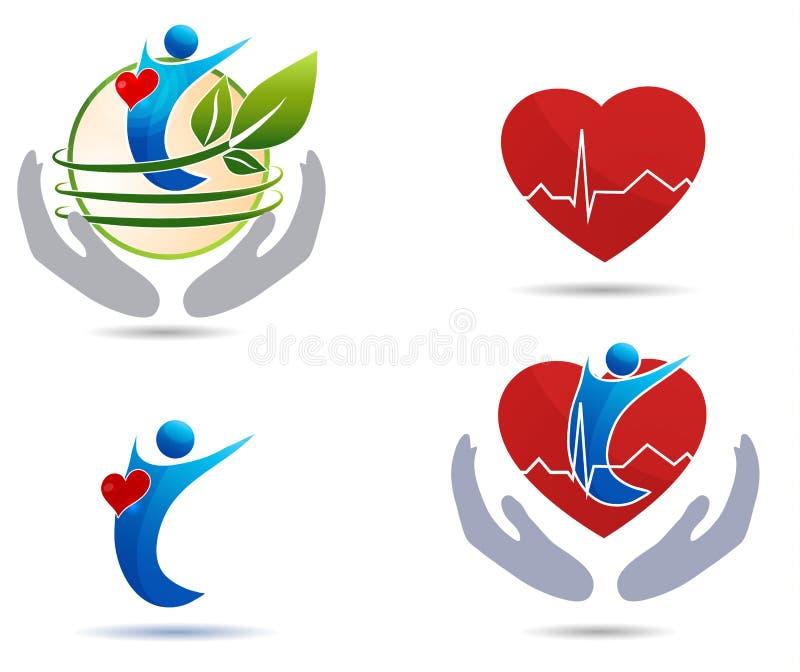 Cardiovascular disease treatment icons. Healthy heart and healthy human vector illustration