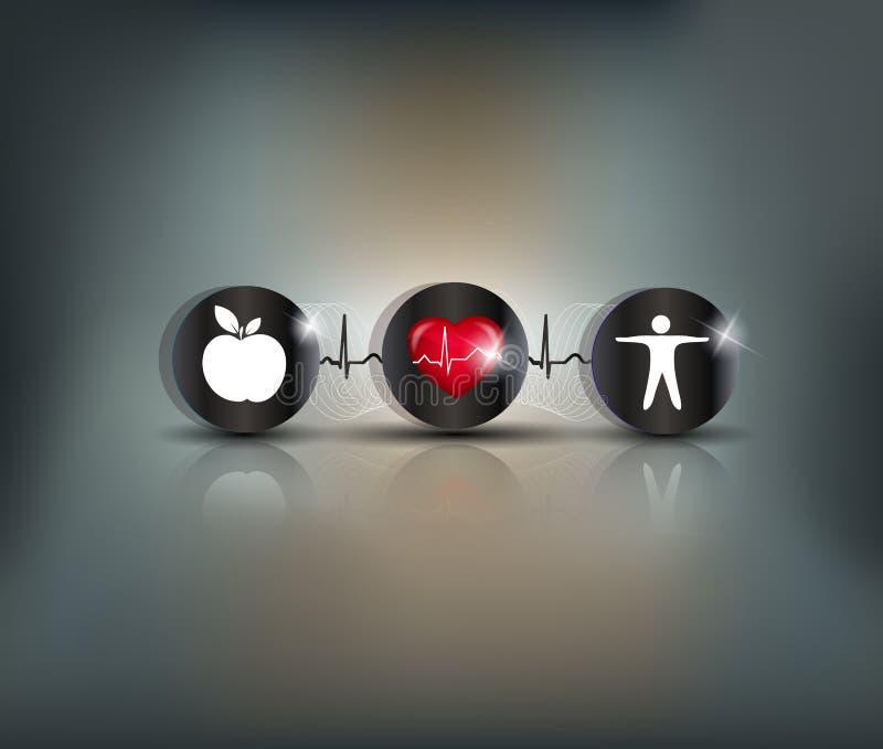 Cardiovascular Health. Exercise, healthy diet and Cardiovascular Health symbols connected with heart beat line. Stroke prevention vector illustration