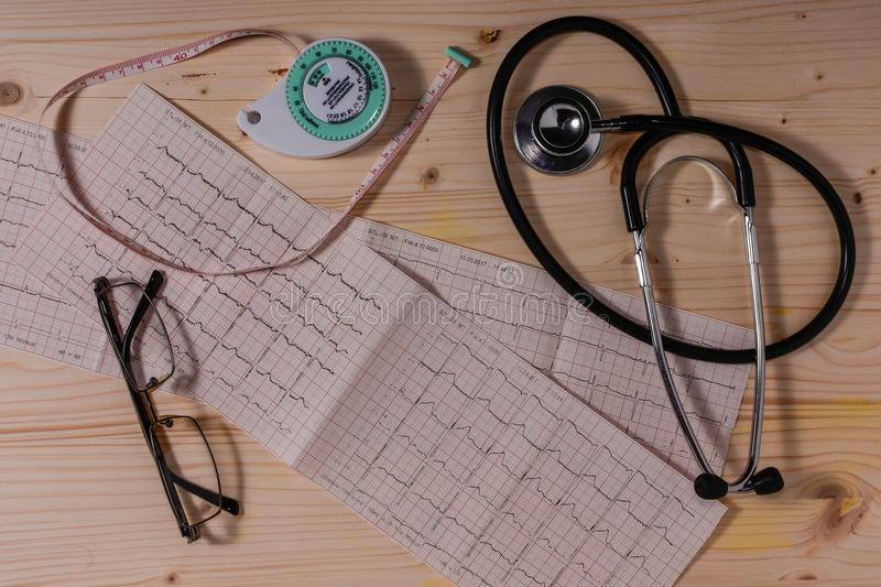 Cardiovascular system health measure instruments stock image
