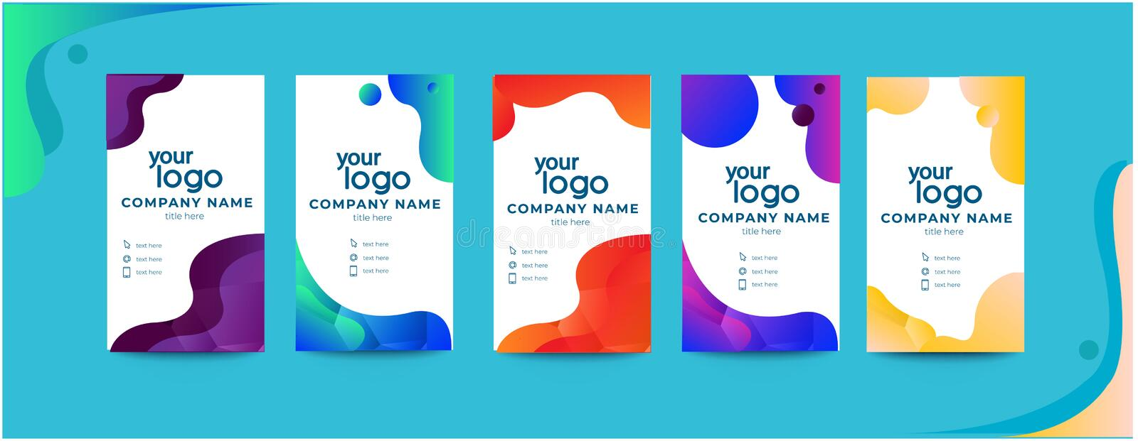 Abstract Clean and simple blue business card namecard design stock illustration