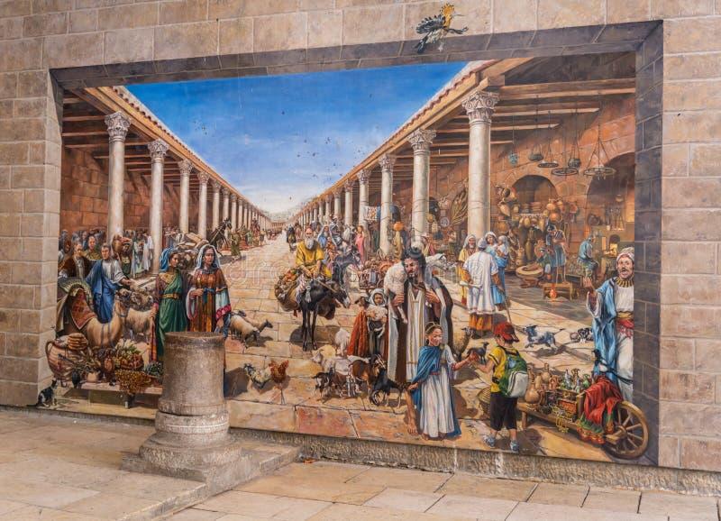 Cardo在亚美尼亚处所的街道绘画在耶路撒冷 免版税图库摄影