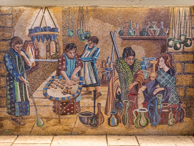 Cardo在亚美尼亚处所的街道绘画在耶路撒冷 免版税库存图片
