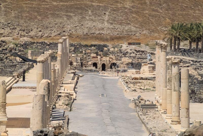 Cardo - Spalte-gesäumte römische Straßenruinen von Beit She ' lizenzfreie stockbilder