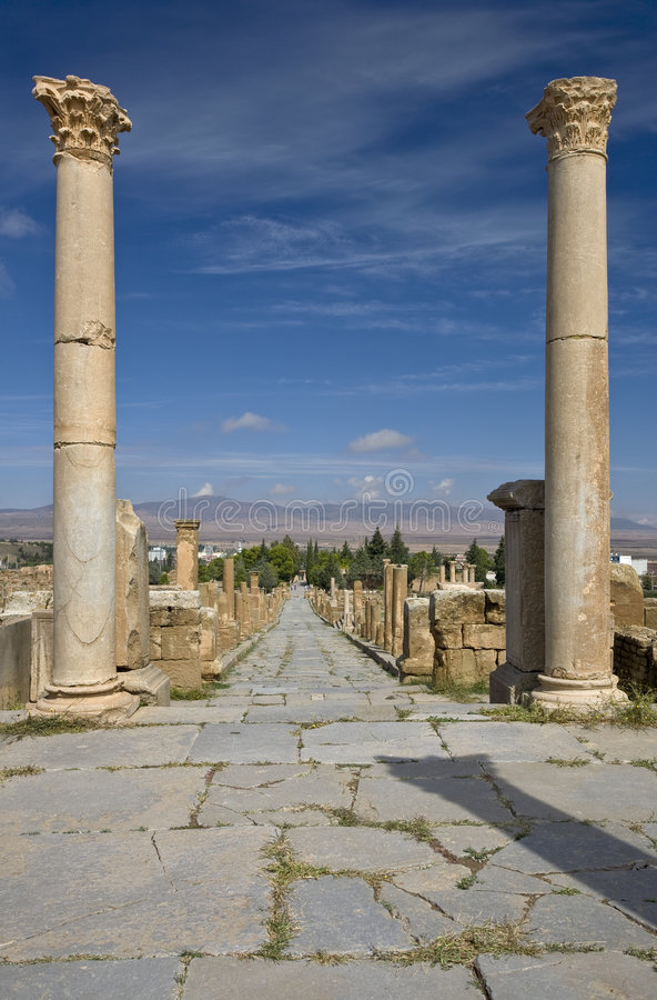 Download Cardo street in Timgad stock photo. Image of colonnade - 7480380