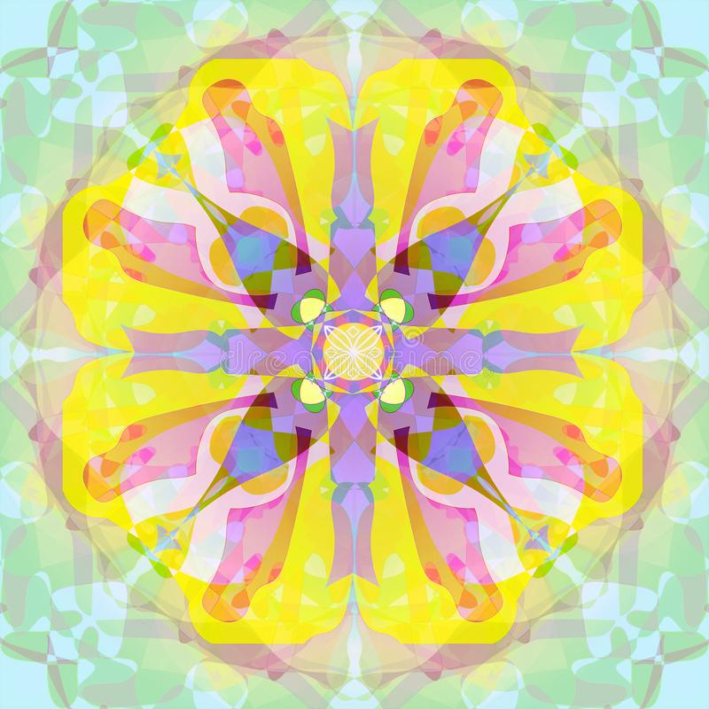 ART DECO MANDALA. PASTEL COLORS PALLET.  ABSTRACT AQUAMARINE BACKGROUND. CENTRAL FLOWER IN PURPLE, PINK, YELLOW AND BLUE royalty free illustration