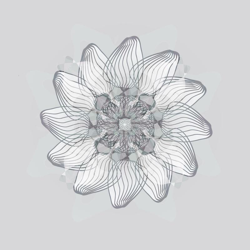 DAISY FLOWER MANDALA. PLAIN GRAY BACKGROUND. MONOTONE PALLET IN GRAY royalty free stock photo