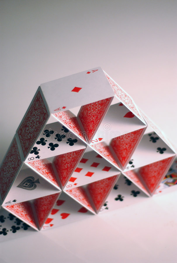 Cards. Poker cards stack in pyramid form royalty free stock photos