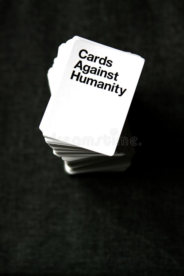 Cards Against Humanity tower of playing cards royalty free stock photo