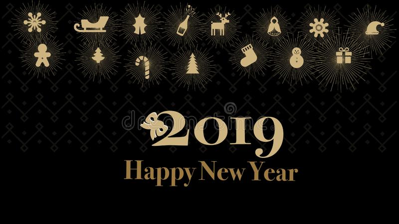Cards or Banners Happy New Year 2019 Gold Color Black Background royalty free illustration
