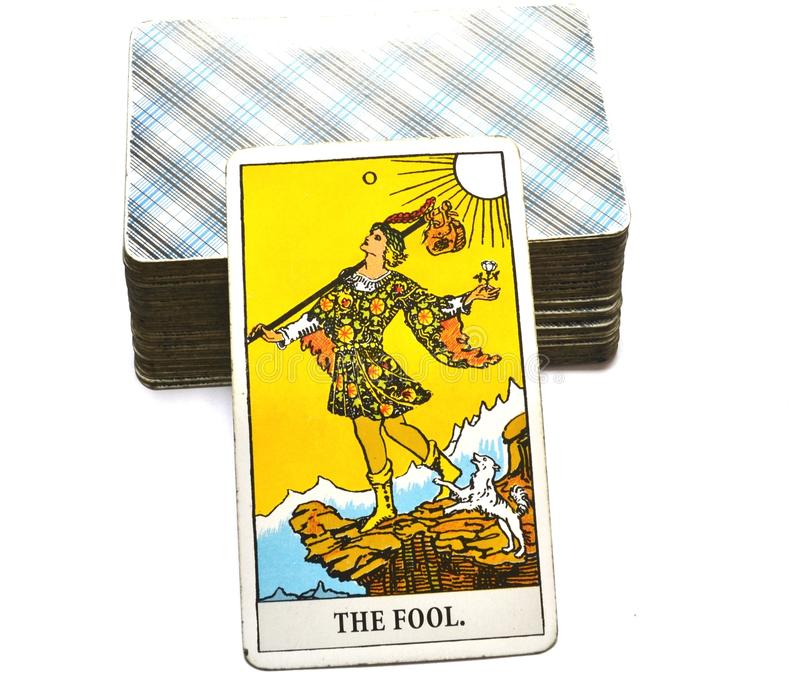 The Fool Tarot Card Begginins Rebirth Faith. This cards is about Beginnings, Void, Rebirth, Renewal, Nea Faith, Convictions, and Confidence stock images