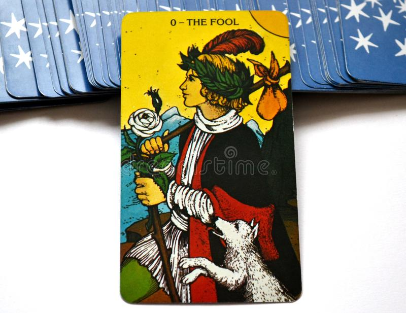 The Fool Tarot Card Begginins Rebirth. This cards is about Beginnings, Void, Rebirth, Renewal, New Phase, Fresh, Open to Change, Leap of Faith, Blind Faith royalty free stock photos