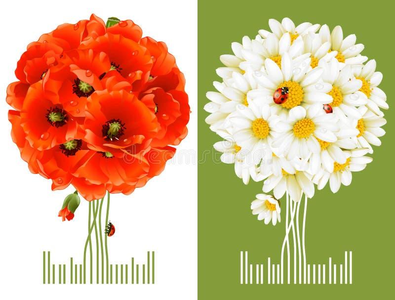 cards blom- hälsning royaltyfri illustrationer