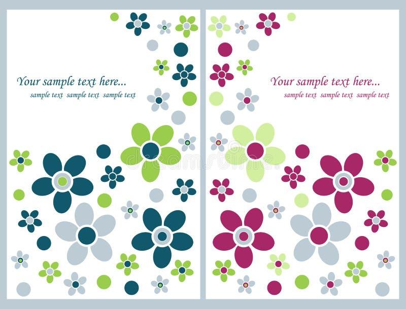 cards blom- hälsning stock illustrationer