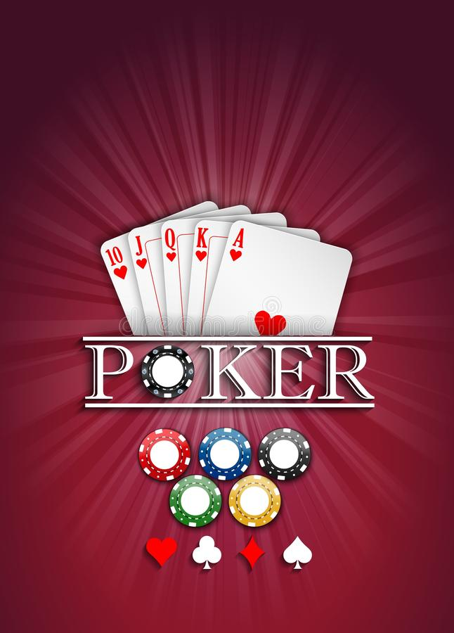 Cards and casino chips on a red background vector illustration