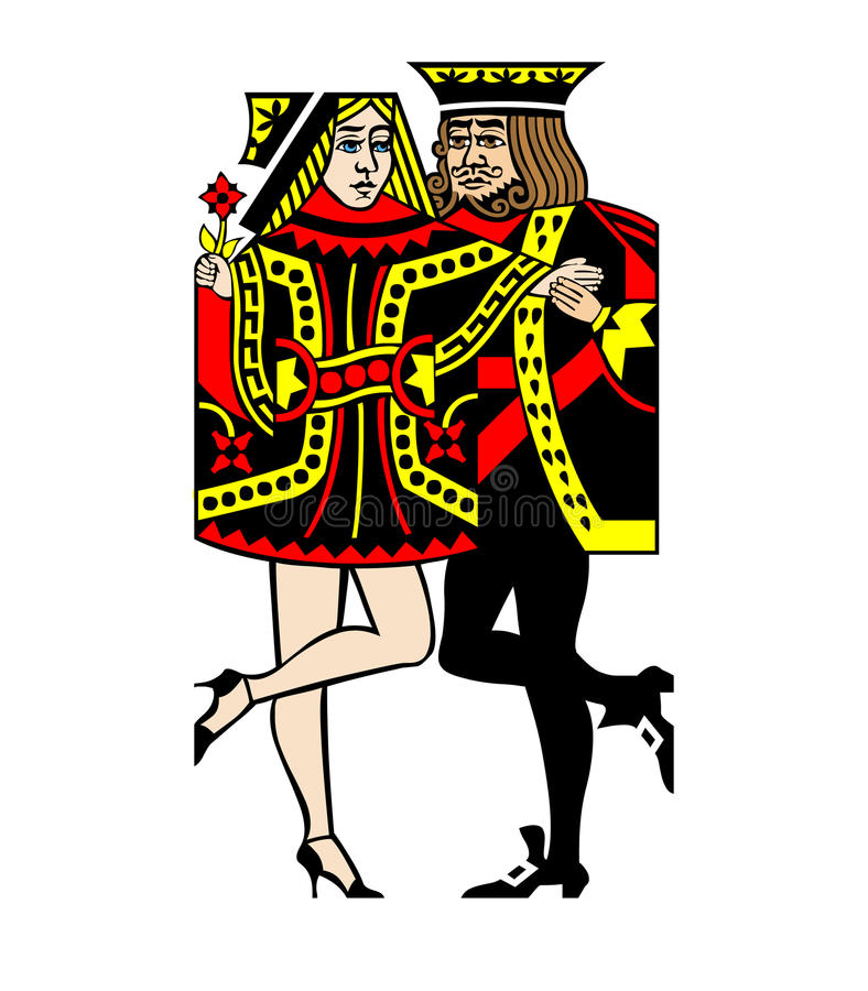 Cards Casino Dance. A Queen and King of Cards Dancing Casino Party