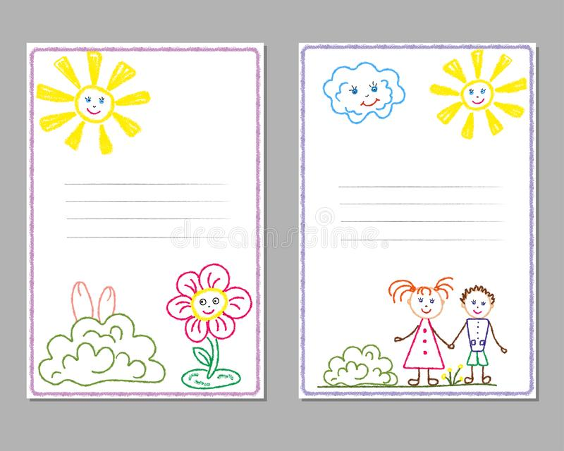 Cards with children`s pencil drawings, with the image of the sun, children, flowers, friendship. royalty free illustration