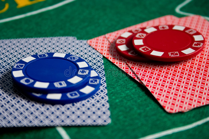 Cards and chips stock image