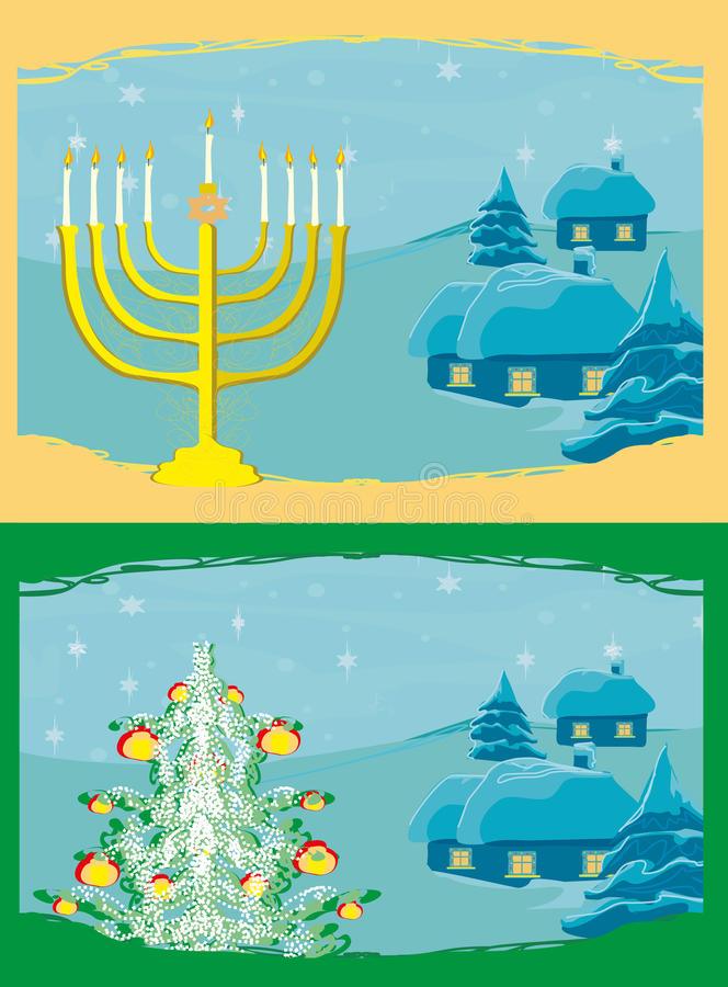 Cards with Christmas tree and Channuka candles. Pair of Happy Holidays! cards with Christmas tree and Channuka candles stock illustration