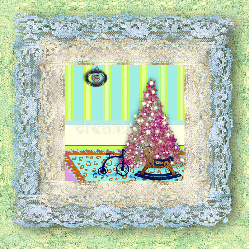 Cards Of Christmas Tree And Vintage Toys Stock Images