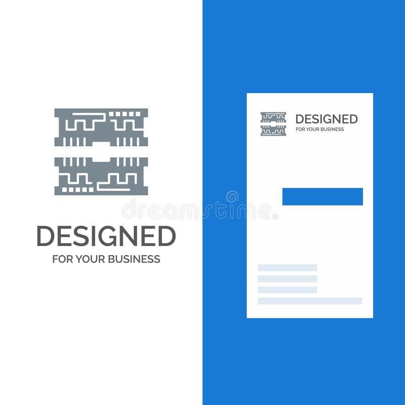 Cards, Component, Computer Grey Logo Design and Business Card Template royalty free illustration