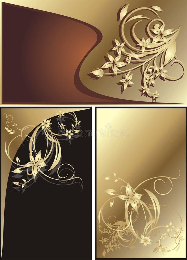 cards dekorativa blom- tre royaltyfri illustrationer