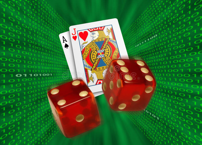 Cards & dice flying by walls of binary code. Playing cards and red dice flying toward camera through a green vortex, with walls of binary code, possibly royalty free stock image