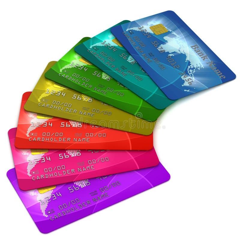 cards färgrik kreditering royaltyfri illustrationer
