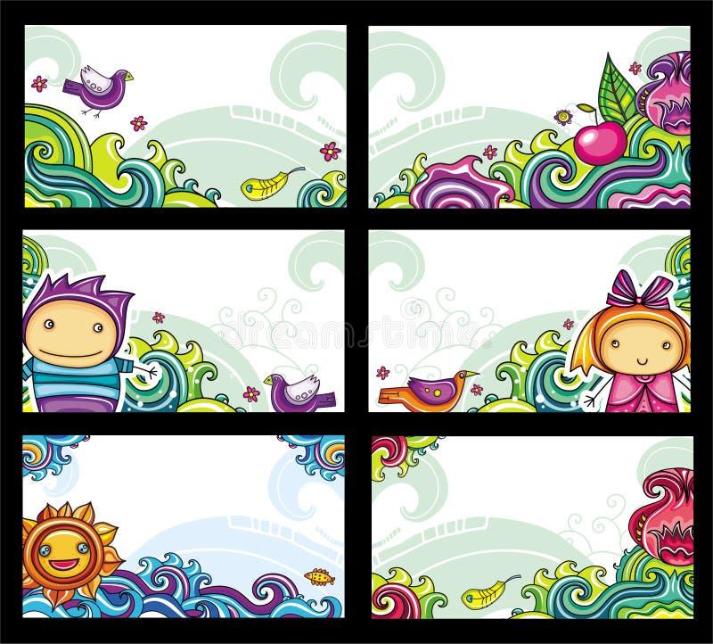 cards färgrikt blom- royaltyfri illustrationer